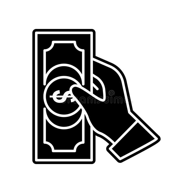 Die Hand h?lt eine Rechnung der Geldikone Element des Kasinos f?r bewegliches Konzept und Netz Appsikone Glyph, flache Ikone f?r  lizenzfreie abbildung