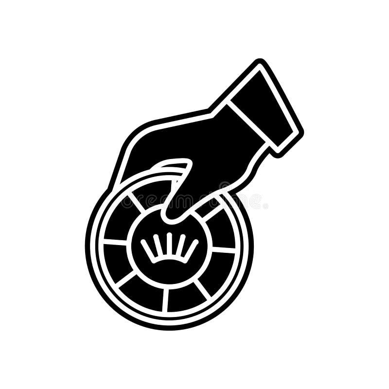 Die Hand h?lt eine spielende Chipikone Element des Kasinos f?r bewegliches Konzept und Netz Appsikone Glyph, flache Ikone f?r Web vektor abbildung