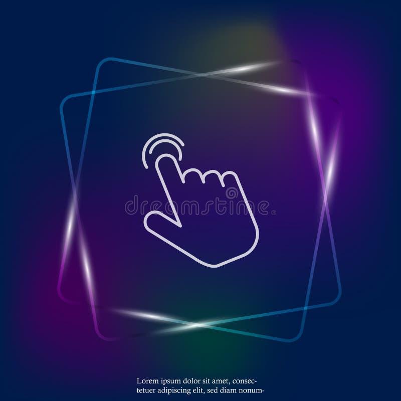 Die Hand klickt an die helle Neonikone des Knopfes Flache Cursor-Ikone Schichten gruppiert für einfache redigierende Illustration vektor abbildung