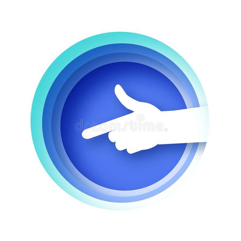 Die Hand lokalisiert auf weißem Hintergrund mit blauem Rahmen des Kreises Finger-rei?endes Handzeichen in der geschnittenen Papie vektor abbildung