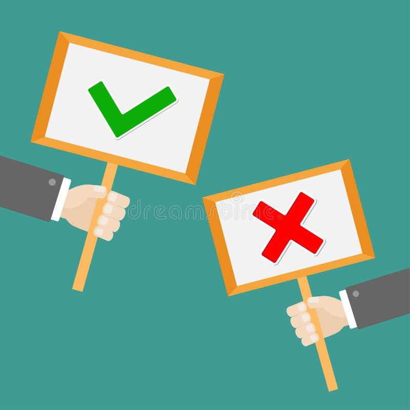 Die Hand mit zwei Geschäftsmännern, die leere Zeichenpapierplatte mit grüner Zeckenkontrolle halten und das rote Kreuz markieren  vektor abbildung