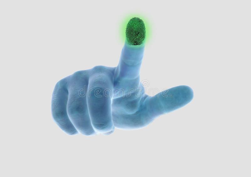 Die Hand scannt den Fingerabdruck des Zeigefingers stockfotos