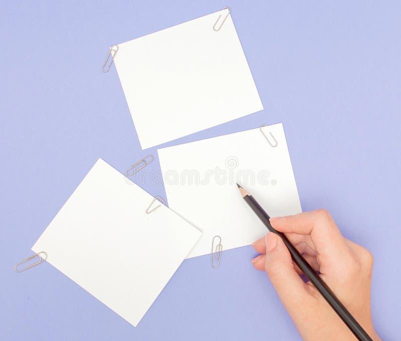 Die Handschrift der Frauen auf Briefpapieren auf purpurrotem Hintergrund Löscht Blatt Papier und Farbe zeichnet auf violettem Hin lizenzfreies stockbild