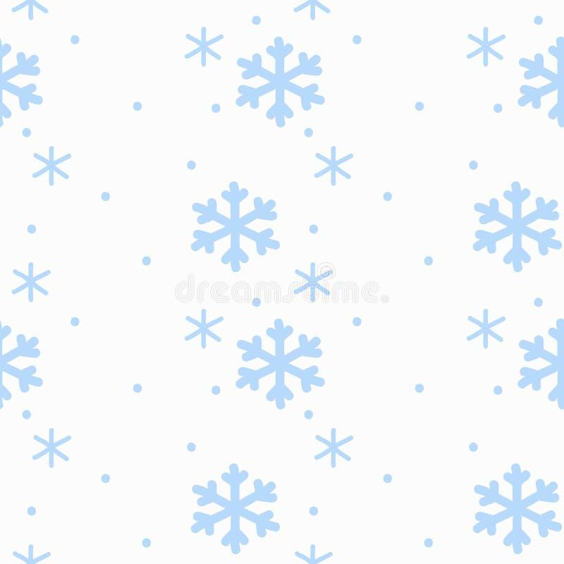 Die Handzeichnungs-Zeichenschneeflocken, die auf nahtlosem Muster des weißen Hintergrundes blau sind, lokalisierten Wei?e Schneef lizenzfreie abbildung