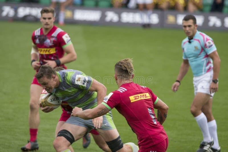 Die Harlekine und das Newcastle-Falcons-Rugby 7 S lizenzfreie stockbilder