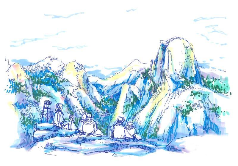 Die Haube, Nationalparkillustration Yosemite Kalifornien lizenzfreie abbildung