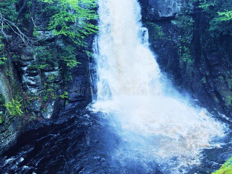 Die Haupt-Bushkill-Fälle wässern schnell fließen stockfotografie