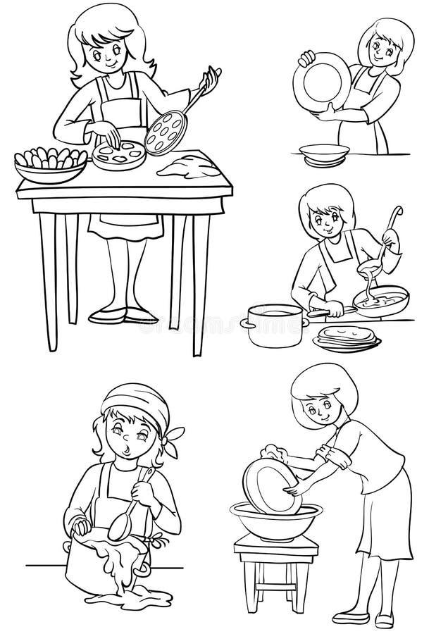 Die Hausfrau stock abbildung