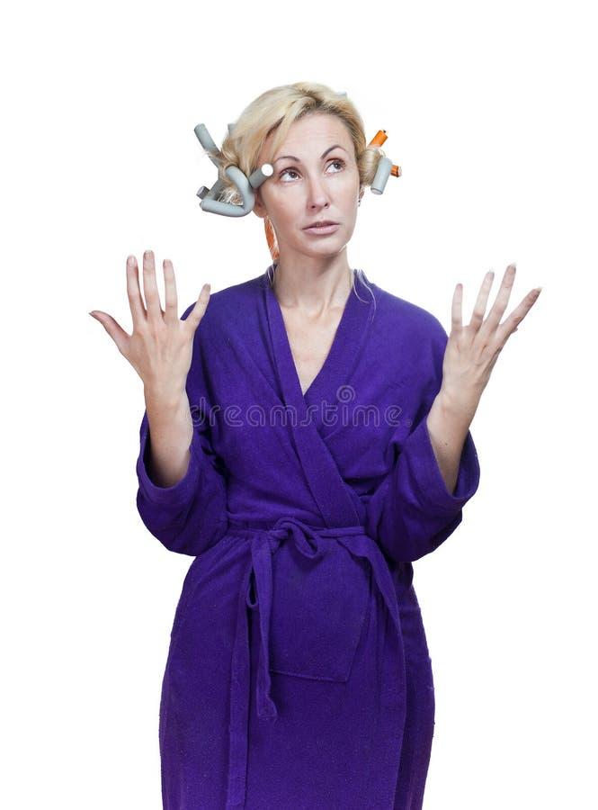 Die Hausfrau in einer Hausbehandlung, ohne bilden lizenzfreie stockfotografie