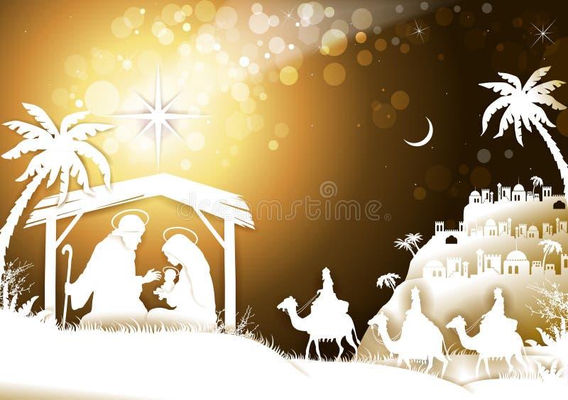 Die heilige Familie mit König Wise Men auf goldenem Himmel lizenzfreie stockfotografie
