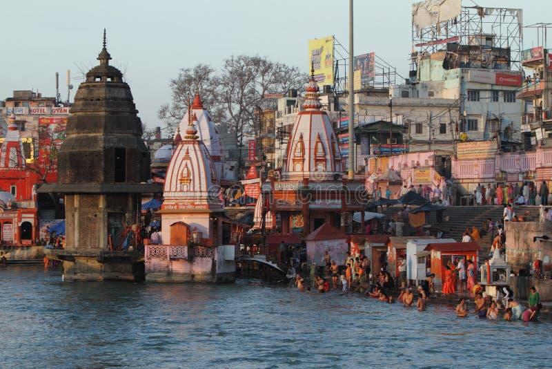 Die heilige Stadt Haridwar auf dem Ganges stockfoto