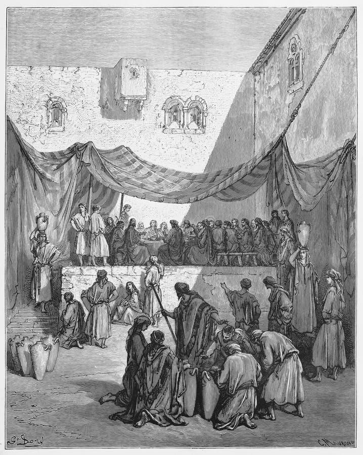 Die Heirat in Cana lizenzfreie abbildung