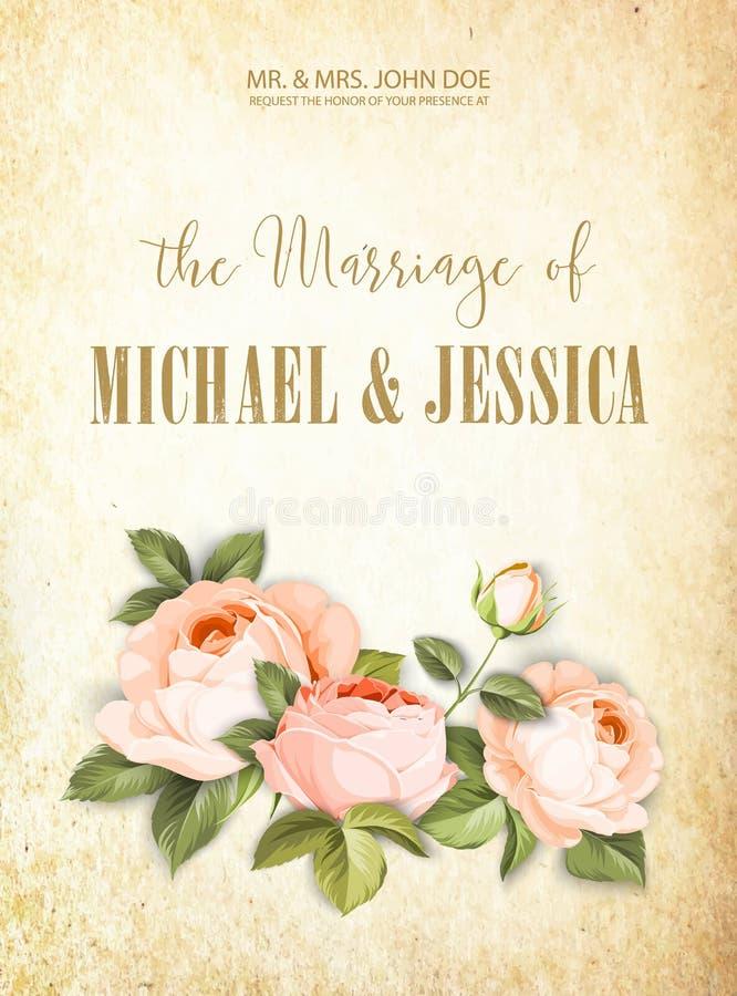 Die Heirat-Karte Partei-Karten-Entwurf mit Blumen und Streifen Die Girlande von roten Blumen in der Weinleseart Brautmitteilungsk stock abbildung