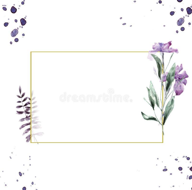 Die Heiratseinladung, mit Blumen laden Karte, Rahmendruck der Blumen- und grünen Blätter des Aquarellirisrosas geometrischen gold lizenzfreie abbildung