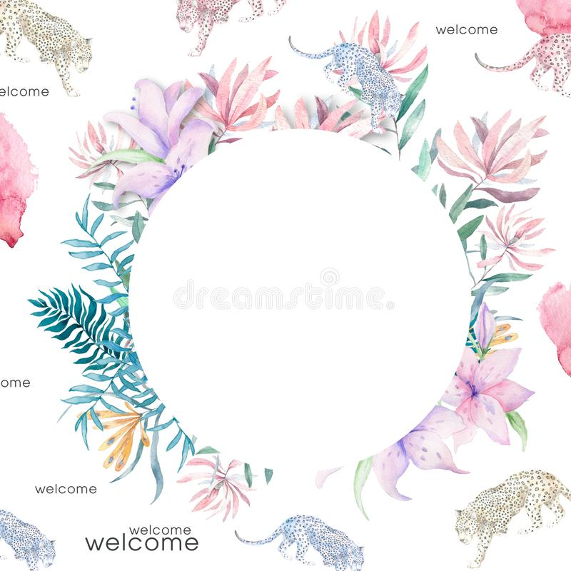Die Heiratseinladung, mit Blumen laden Karte, rosa Blumen und geometrischen Rahmen der gr?nen Bl?tter Goldein Formrahmen Hintergr vektor abbildung