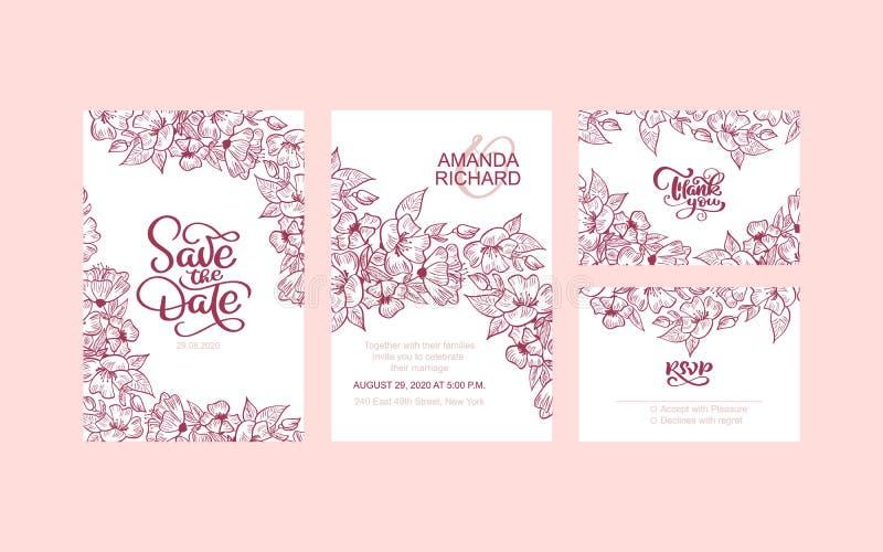 Die Heiratseinladung, mit Blumen laden sparen das Datum ein, danken Sie Ihnen, rsvp modernem Karte Entwurf - rotem dekorativem Kr stock abbildung
