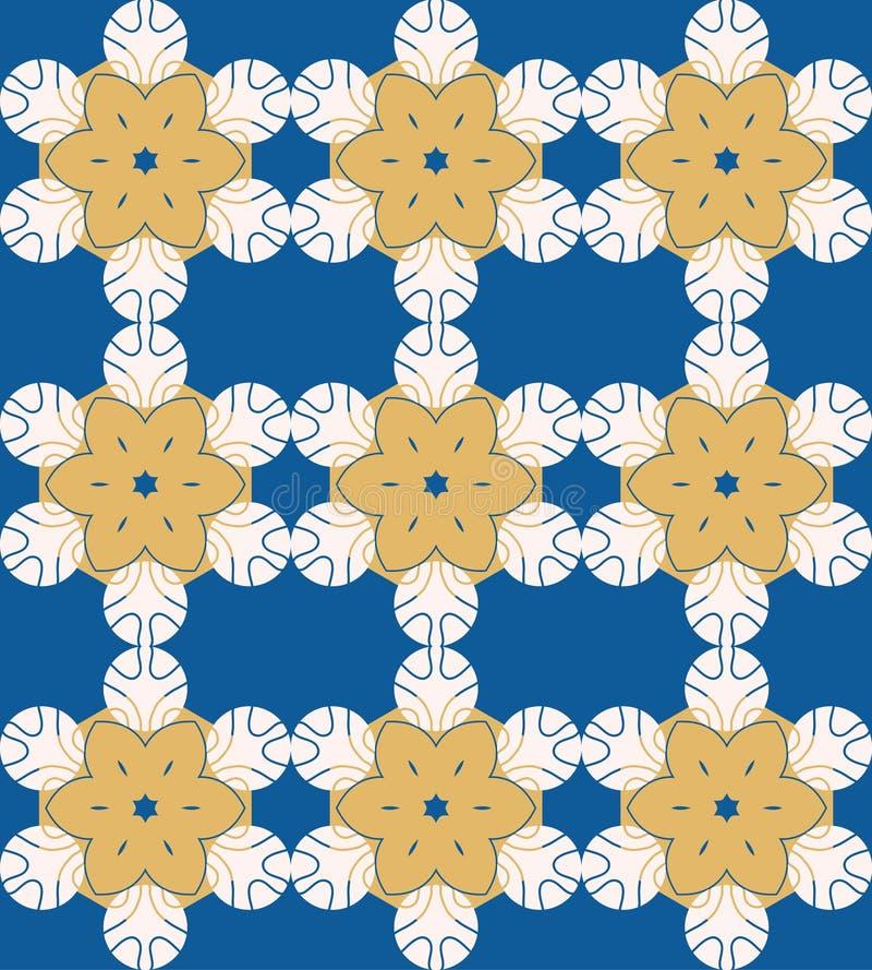 Die helle Farbe der Vektorzusammenfassung, die mit geometrischer Blume nahtlos ist, formte Elemente Dekoratives Mandalamuster stock abbildung