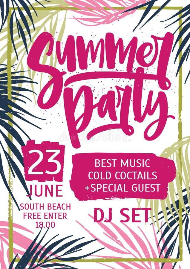 Die helle farbige Einladungs-, Plakat- oder Fliegerschablone, die mit exotischer Palme verziert wird, verlässt für Sommerfest und lizenzfreie abbildung