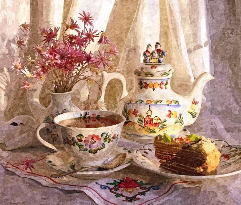 Die helle Teeschale mit einem heißen Getränk Rustikale Noch-Lebensdauer Malendes nasses Aquarell auf Papier Naive Kunst Zeichnung stock abbildung