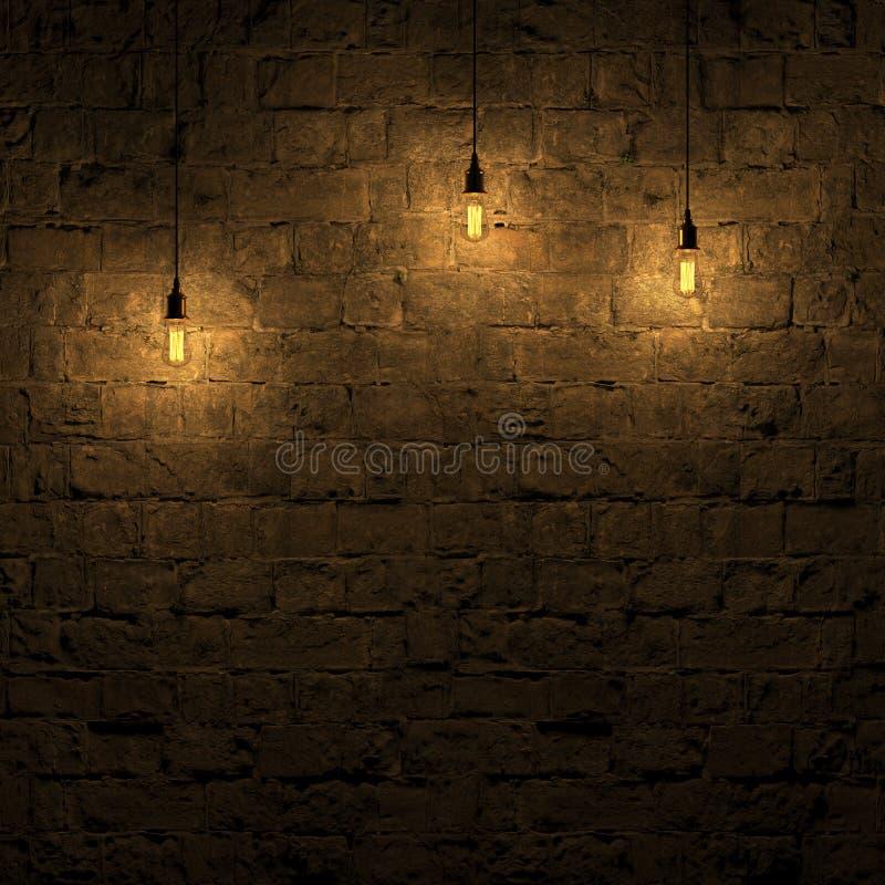 Die hervorgehobene Steinwand durch Wiedergabe Edison-Lampe 3d vektor abbildung