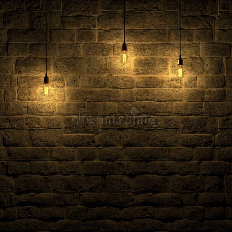Die hervorgehobene Steinwand durch Wiedergabe Edison-Lampe 3d stock abbildung