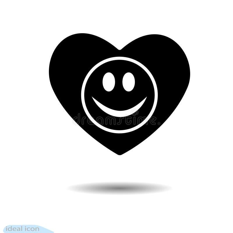 Die Herzikone Ein Symbol der Liebe Tag des Valentinsgruß-s Lächeln im Kreis augen Flache Art für Grafikdesign, Logo Schwarzes als stock abbildung