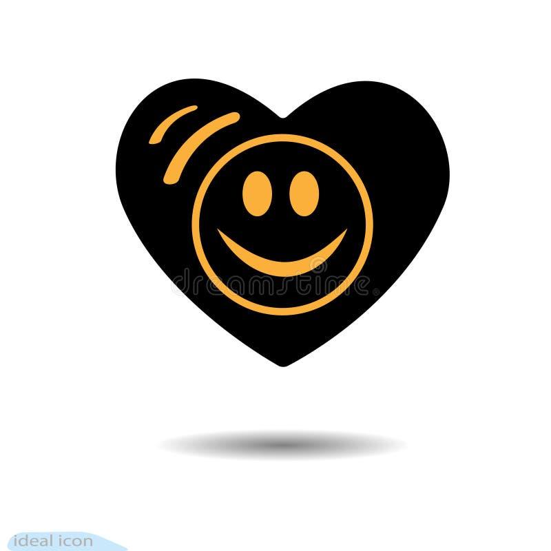 Die Herzikone Ein Symbol der Liebe Tag des Valentinsgruß-s Lächeln im Kreis augen Flache Art für Grafikdesign, Logo Schwarzes als lizenzfreie abbildung