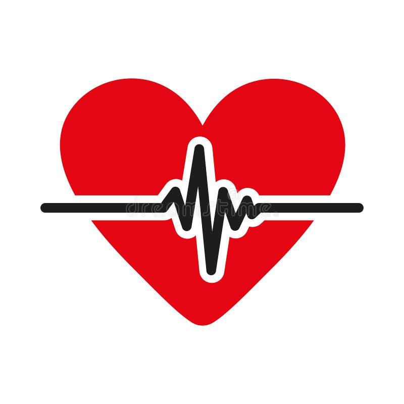 Die Herzikone Kardiologie und Kardiogramm, ecg, Herz Symbol flach stock abbildung