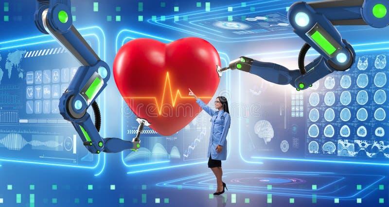 Die Herzoperation erfolgt durch Roboterarm lizenzfreie abbildung