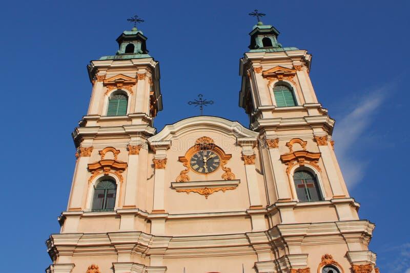 Die historische Kirche von göttlichem Providence in Bielsko-BiaÅ'a vom 18. Jahrhundert lizenzfreie stockbilder