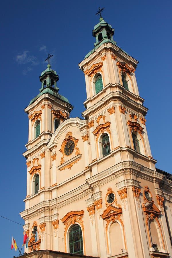 Die historische Kirche von göttlichem Providence in Bielsko-BiaÅ'a vom 18. Jahrhundert stockfotografie