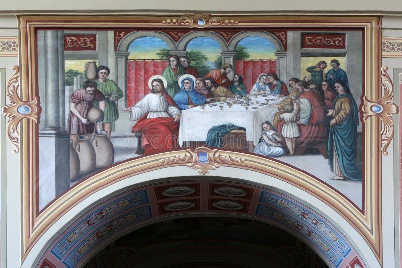 Die Hochzeit bei Cana stockbilder