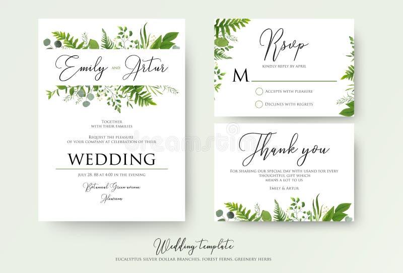 Die Hochzeits-Einladung, mit Blumen laden ein, danke, rsvp moderne Karte D stock abbildung