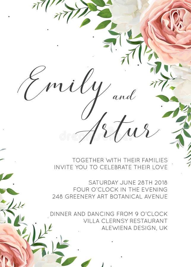 Die Hochzeits-Einladung, mit Blumen laden Karte Design mit cremefarbenem ein lizenzfreie abbildung