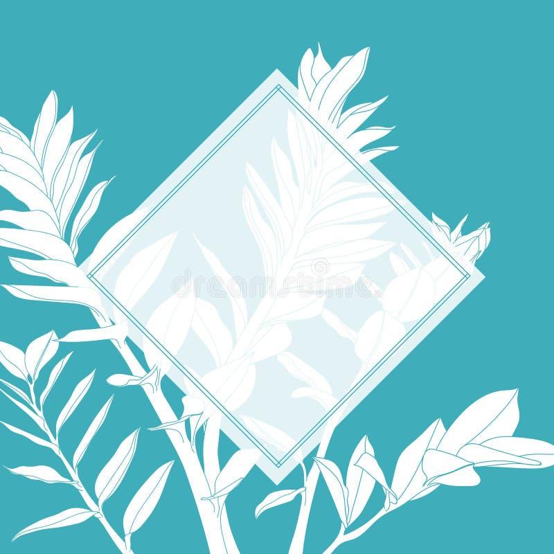 Die Hochzeits-oder Partei Einladung, mit Blumen laden danken Ihnen, rsvp modernem Karte Entwurf ein, Linie die tropischen dekorat vektor abbildung