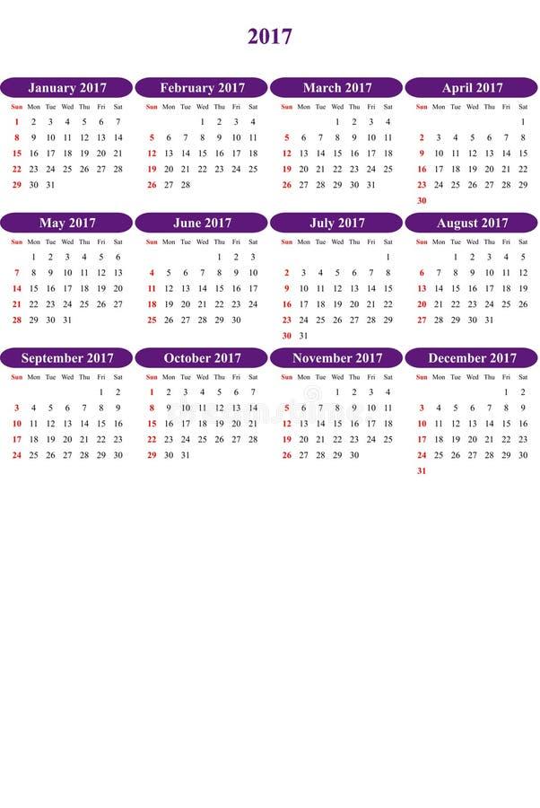 Die Honigblume, die klar gefärbt wurde, färbte einfachen Kalender 2016 lizenzfreie abbildung