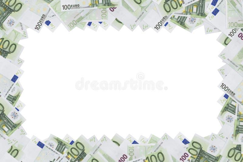 Die hundert Eurobanknoten benutzt als Rahmen, mit leerem Raum lizenzfreies stockbild