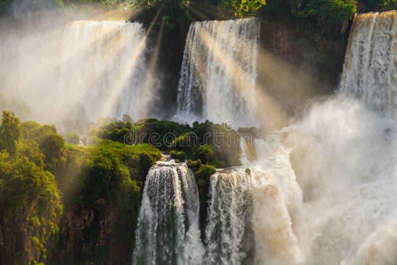 Die Iguaçu-Wasserfälle Cataratas Del Iguazu sind Wasserfälle des Iguazu-Flusses lizenzfreie stockfotografie