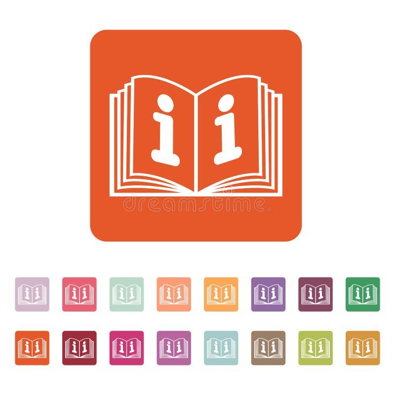 Die Ikone des offenen Buches Manuell und Tutor, Anweisung, Enzyklopädiensymbol flach stock abbildung