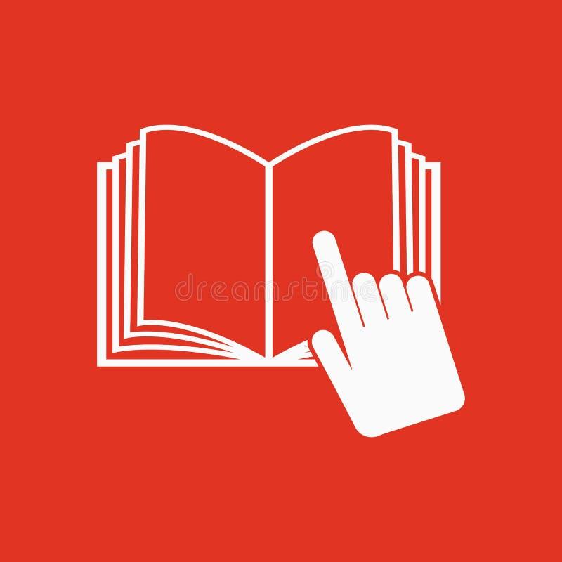 Die Ikone des offenen Buches Manuell und Tutor, Anweisungssymbol lizenzfreie abbildung