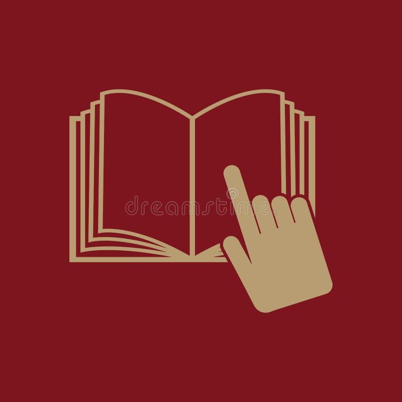 Die Ikone des offenen Buches Manuell und Tutor, Anweisungssymbol flach stock abbildung