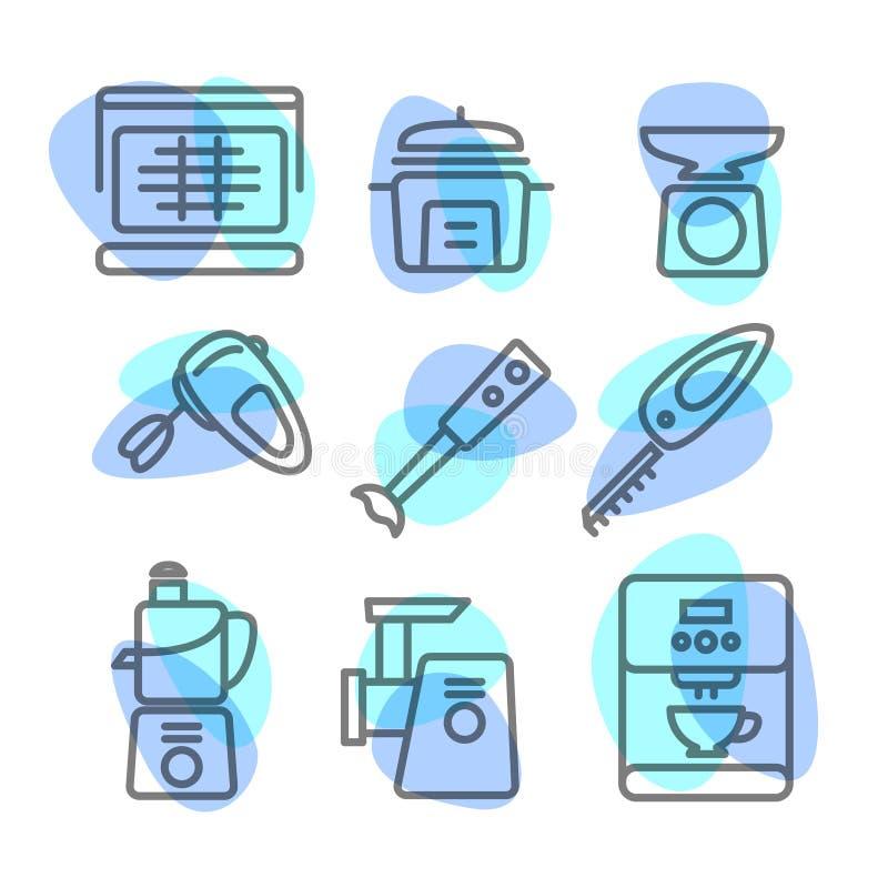 Die Ikonensatz-Küchenlinie von Werkzeugen auf weißem Hintergrund stockbild