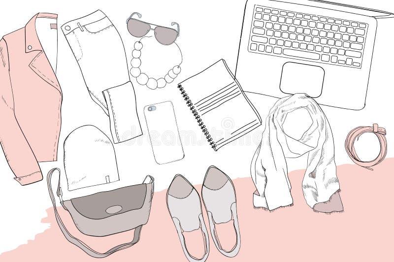 Die Illustration der Hand gezeichnet, kritzeln Ebenenlagekoordination Weibliche Kleidungscollage Modische Mode der Frauen Draufsi vektor abbildung