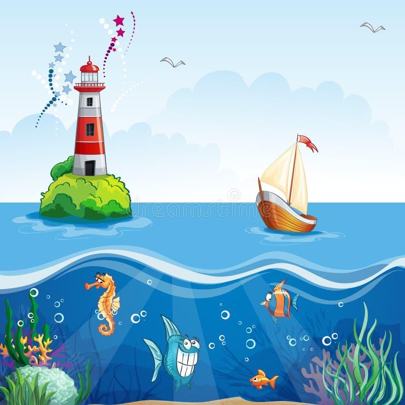 Die Illustration der Kinder mit Leuchtturm und Segelboot Auf dem Meeresgrund und den lustigen Fischen vektor abbildung