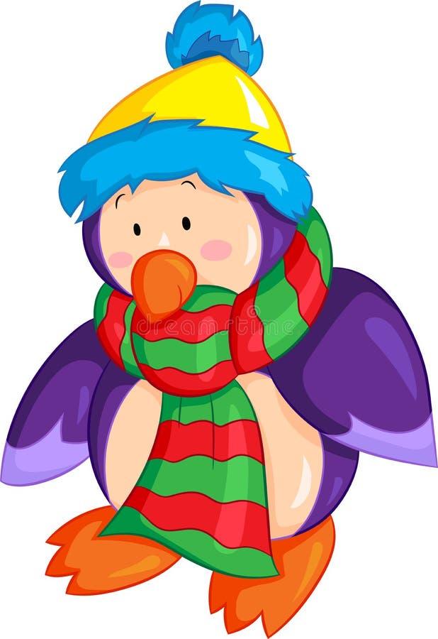 Die Illustration eines netten kleinen Babypinguins, gekleidet für Winter, mit Schal und Hut, in der Farbe, vervollkommnen für das lizenzfreie abbildung