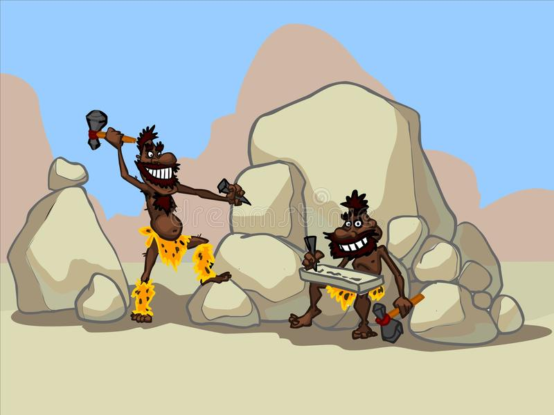 Die Illustration von zwei Karikaturhöhlenbewohnern in einer Wüste lizenzfreie abbildung
