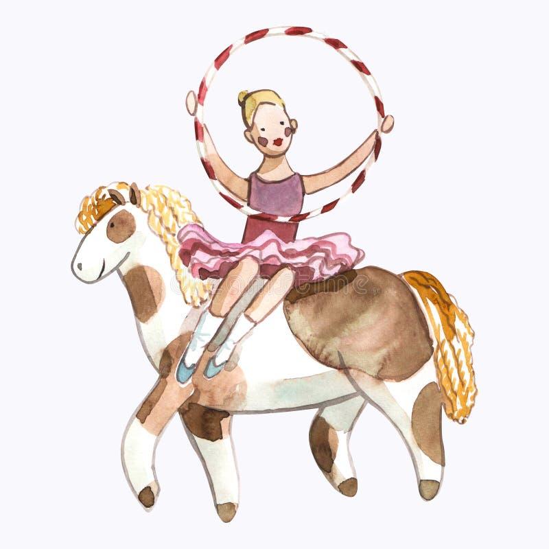 Die Illustration Watrcolor-Kinder der netten Zirkusreiterin lokalisiert auf weißem Hintergrund lizenzfreie abbildung