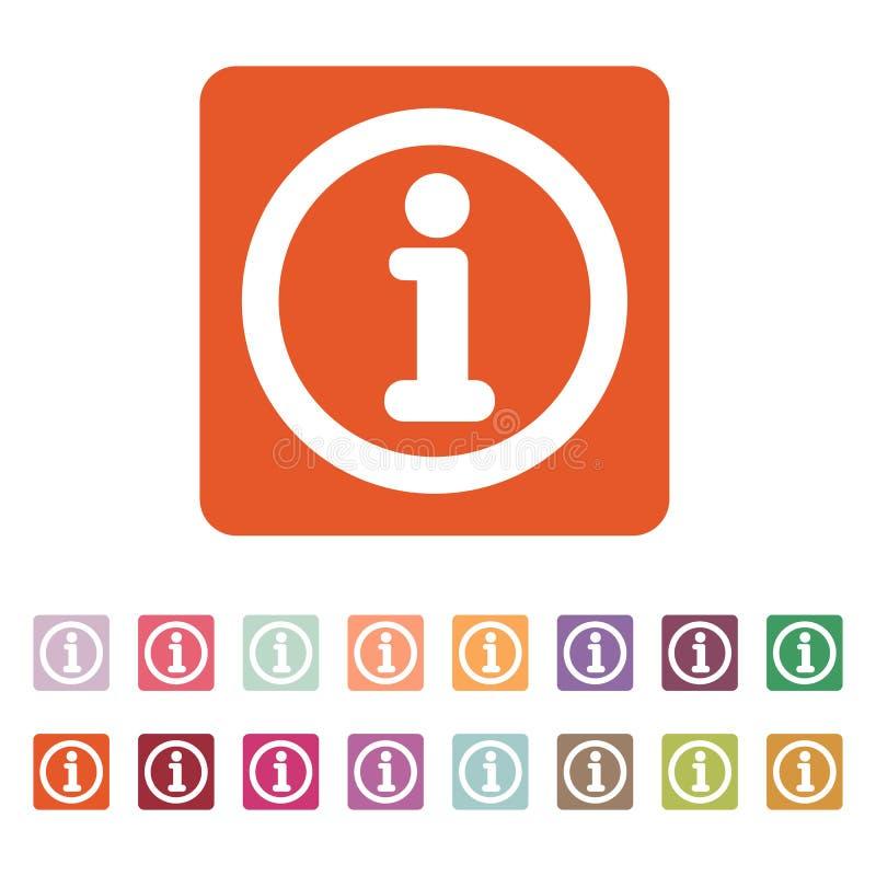 Die Informationsikone Informationen und FAQ-Symbol flach stock abbildung