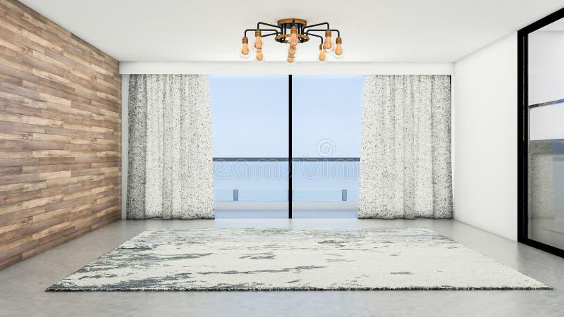 Die Innenarchitektur der leeren modernen Art des Raumes und des Wohnzimmers mit Fenster oder Tür und Teppich auf Steinplatteboden lizenzfreie abbildung