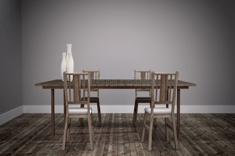 Die Innenvier Stühle und der Holztisch des Raumes, Bretterboden und leere Wand Wiedergabe 3d vektor abbildung